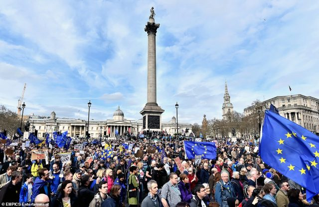 Anti-brexit protesters on the streets of London